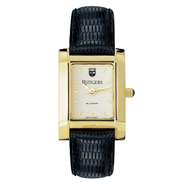 Rutgers University Women's Gold Quad with Leather Strap - Image 2