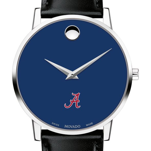 University of Alabama Men's Movado Museum with Blue Dial & Leather Strap