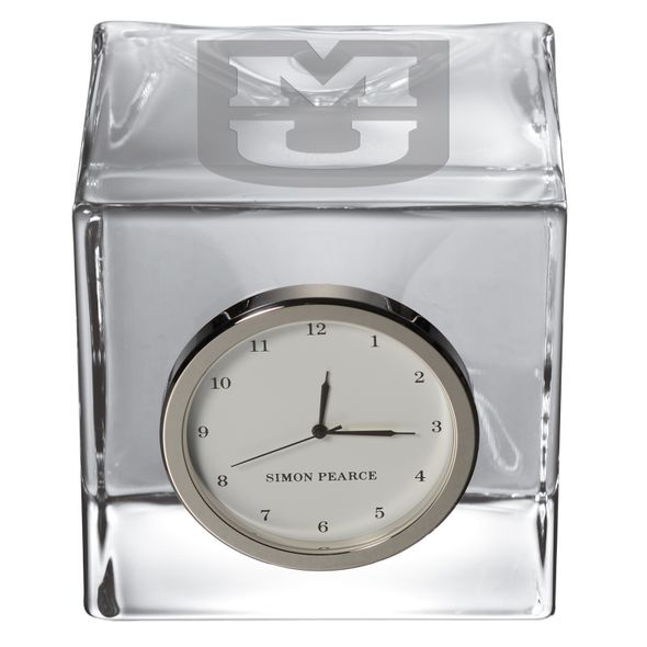 University of Missouri Glass Desk Clock by Simon Pearce - Image 2