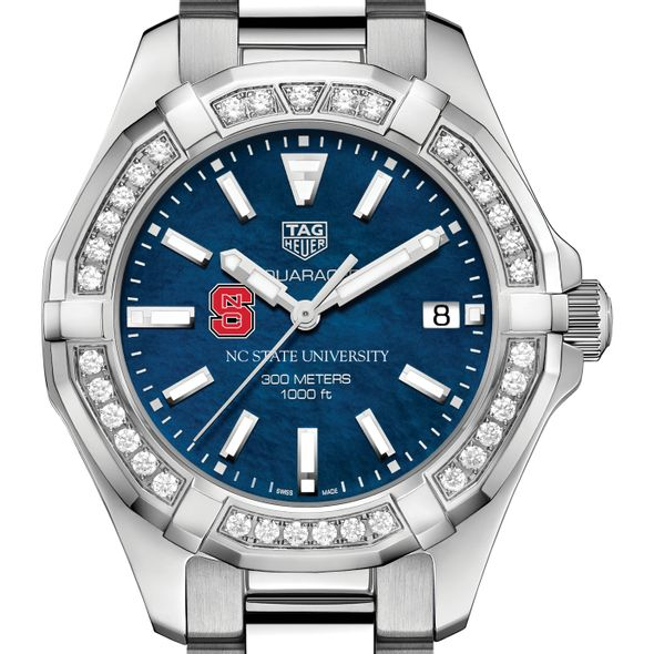 NC State Women's TAG Heuer 35mm Steel Aquaracer with Blue Dial