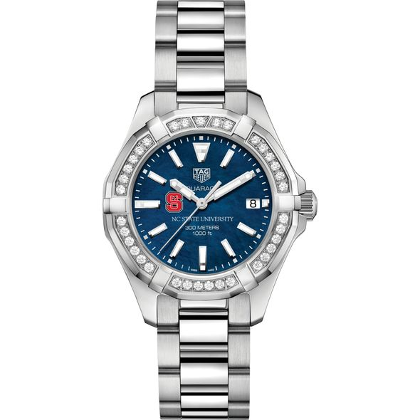 NC State Women's TAG Heuer 35mm Steel Aquaracer with Blue Dial - Image 2