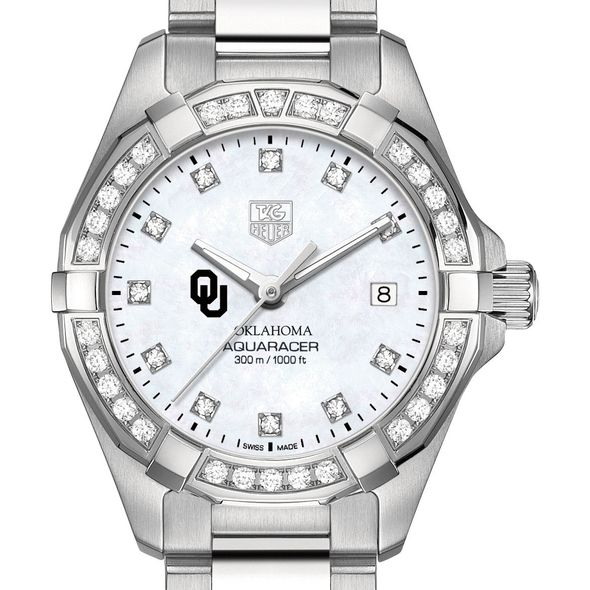 University of Oklahoma W's TAG Heuer Steel Aquaracer with MOP Dia Dial & Bezel