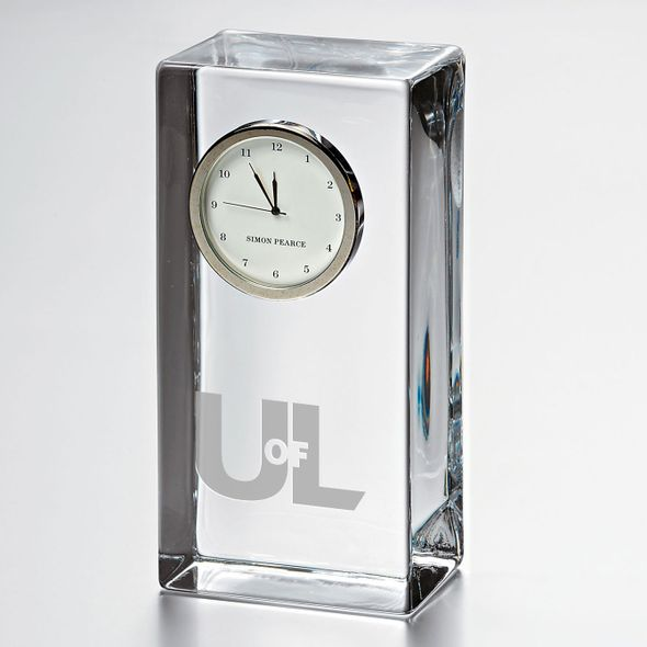 University of Louisville Tall Glass Desk Clock by Simon Pearce