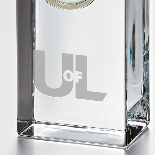 University of Louisville Tall Glass Desk Clock by Simon Pearce - Image 2