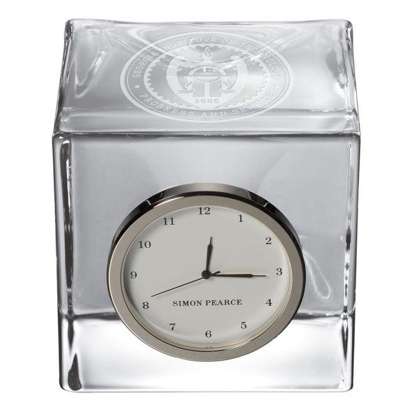 Georgia Tech. Glass Desk Clock by Simon Pearce - Image 2