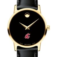 Washington State University Women's Movado Gold Museum Classic Leather