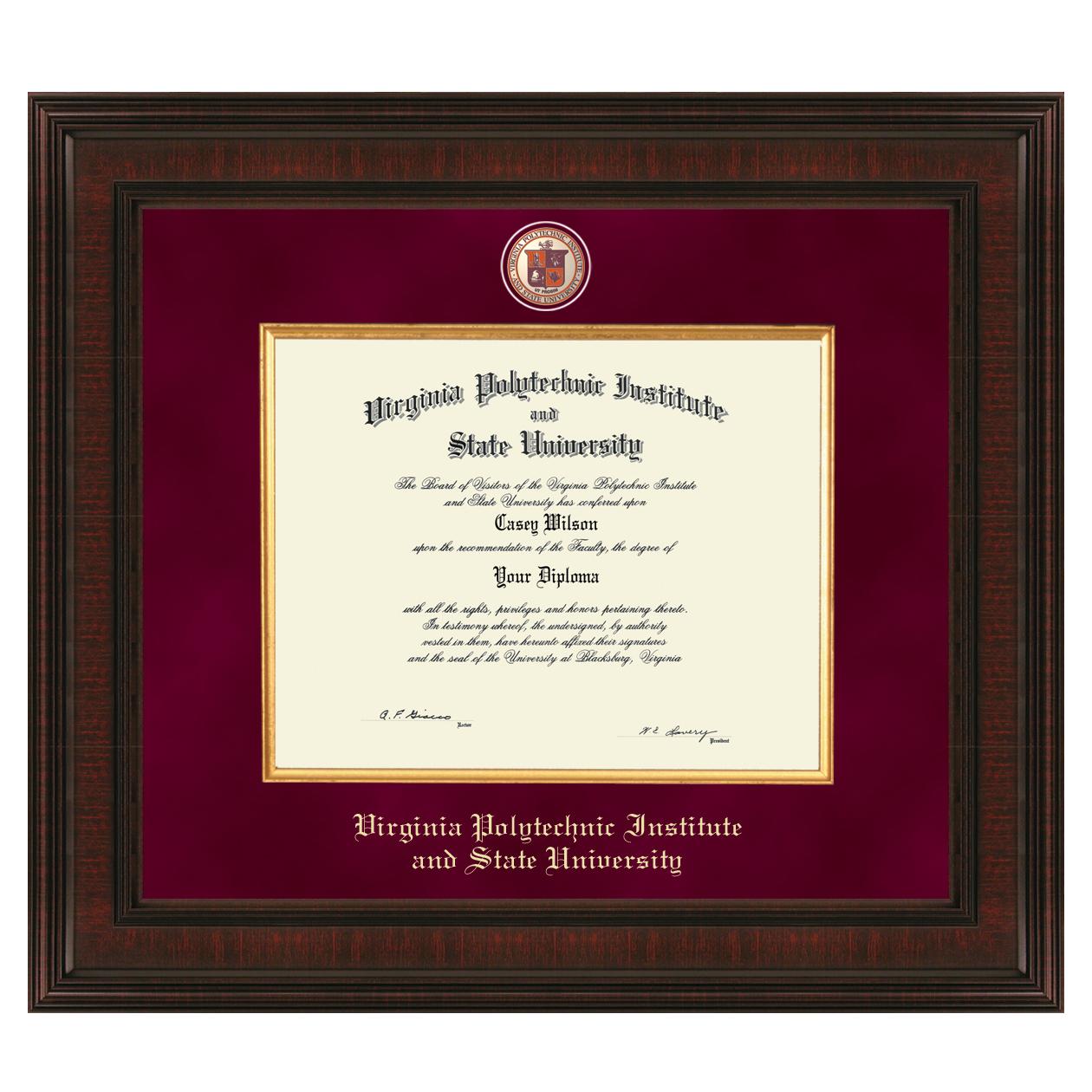 virginia tech diploma frame