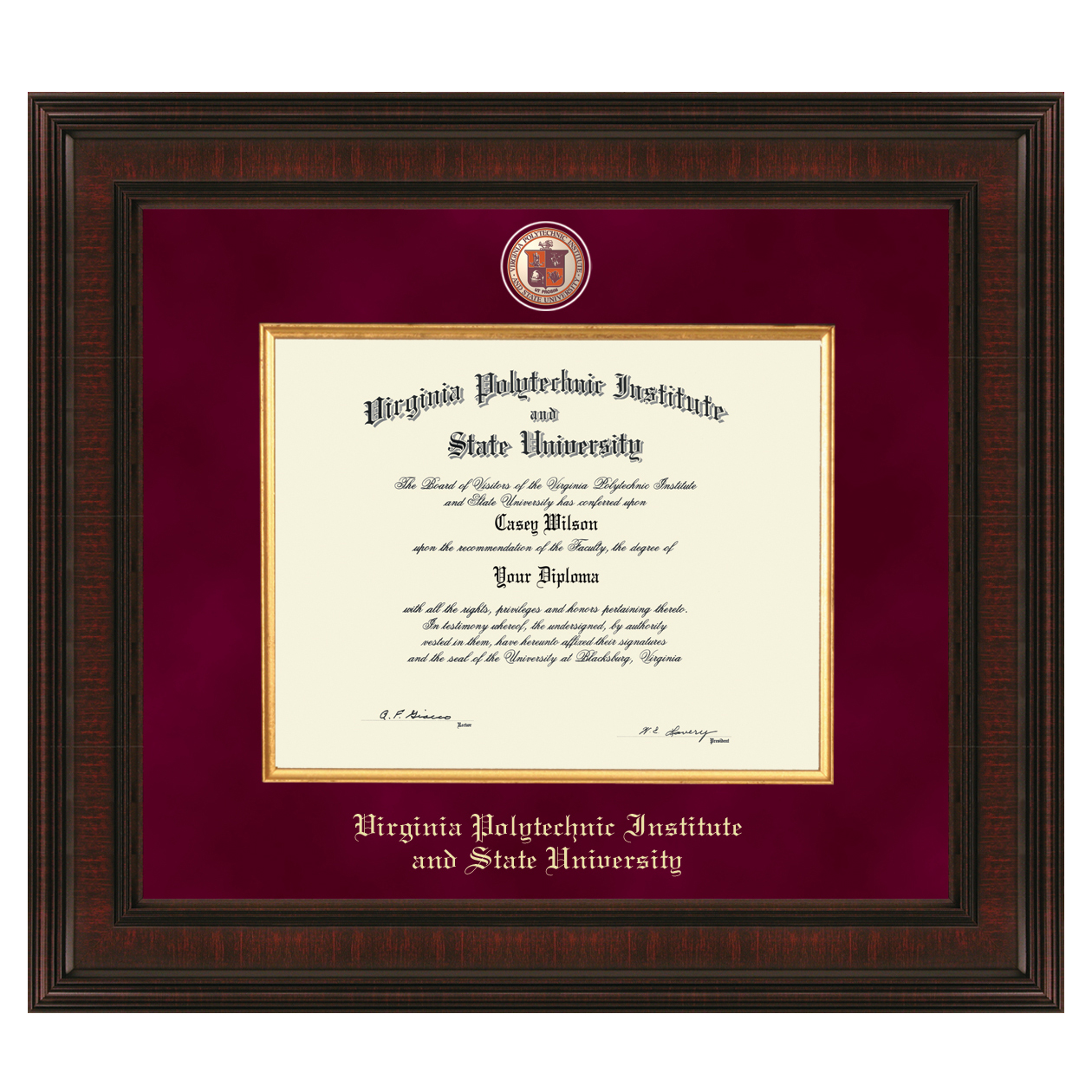 Virginia Tech Diploma Frame Excelsior Graduation Gift