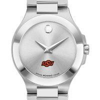 Oklahoma State Women's Movado Collection Stainless Steel Watch with Silver Dial