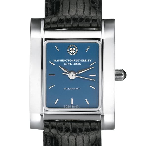WUSTL Women's Blue Quad Watch with Leather Strap
