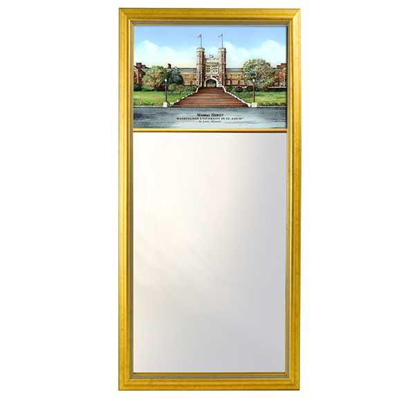 WUSTL Eglomise Mirror with Gold Frame