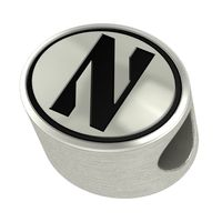 Northwestern Enameled Bead in Black