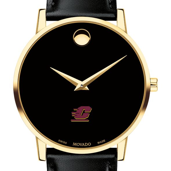 Central Michigan Men's Movado Gold Museum Classic Leather