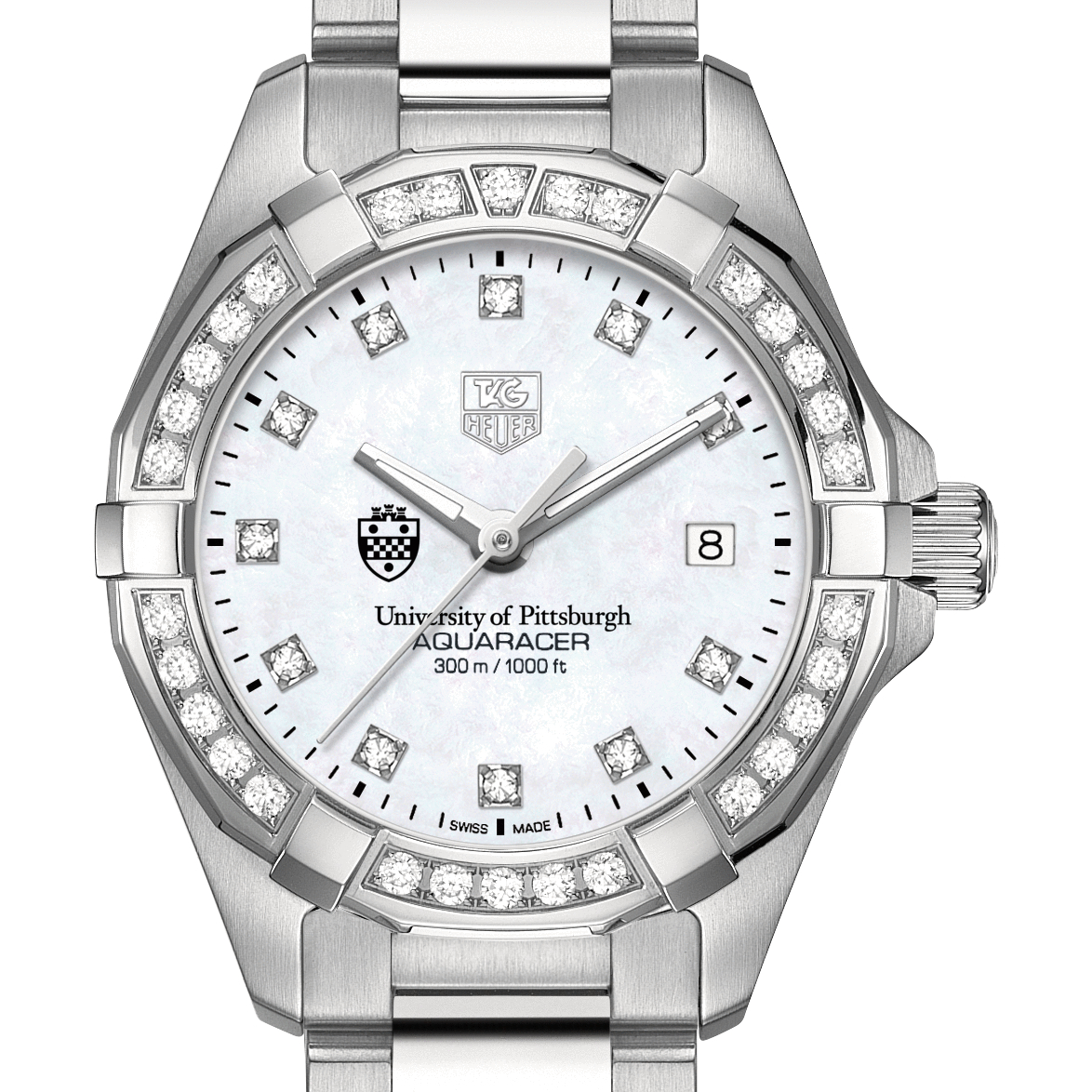 Pittsburgh Women's TAG Heuer Steel Aquaracer with MOP Diamond Dial & Diamond Bezel