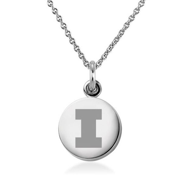 University of Illinois Necklace with Charm in Sterling Silver