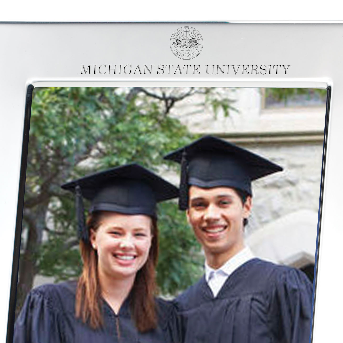 Michigan State Polished Pewter 5x7 Picture Frame - Image 2