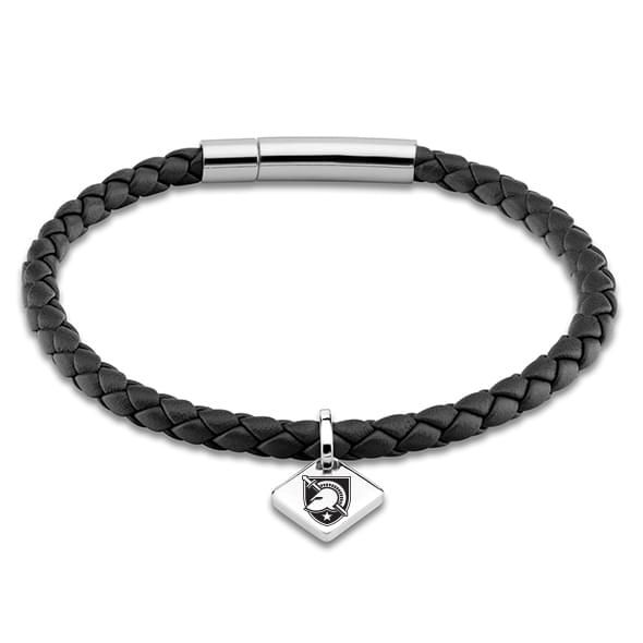 US Military Academy Leather Bracelet with Sterling Silver Tag - Black - Image 1