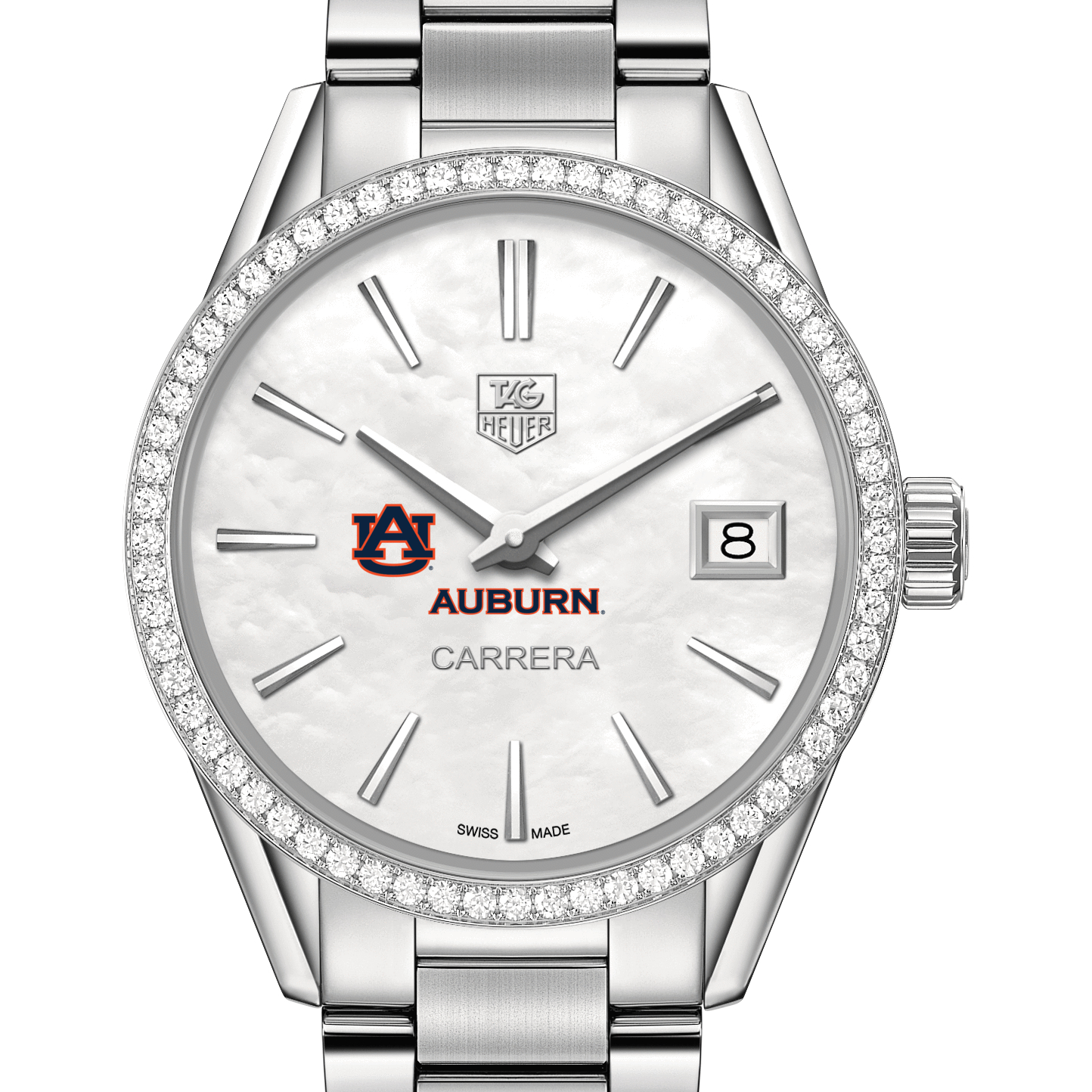 Auburn Women's TAG Heuer Steel Carrera with MOP Dial & Diamond Bezel