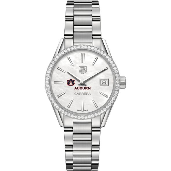 Auburn University Women's TAG Heuer Steel Carrera with MOP Dial & Diamond Bezel - Image 2