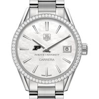 Purdue University Women's TAG Heuer Steel Carrera with MOP Dial & Diamond Bezel