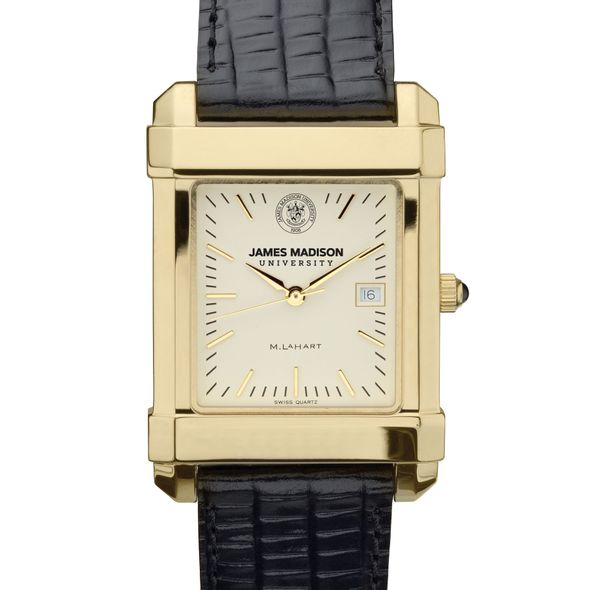 James Madison Men's Gold Quad with Leather Strap