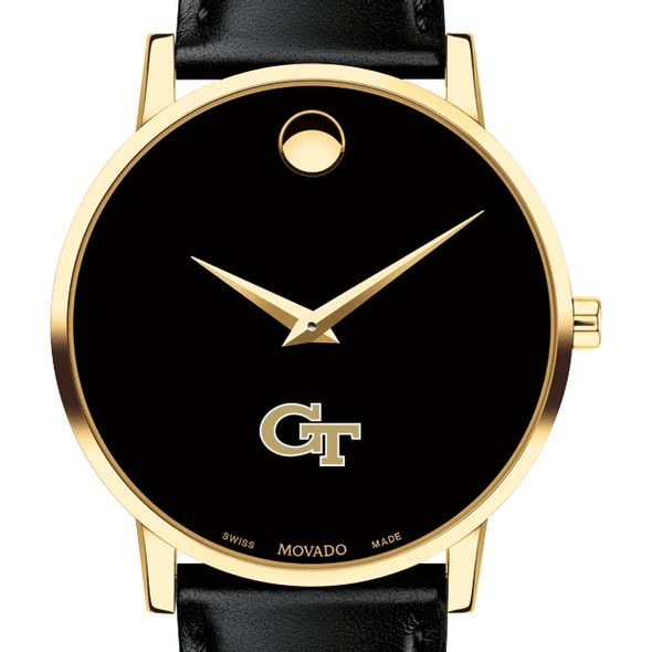 Georgia Tech Men's Movado Gold Museum Classic Leather