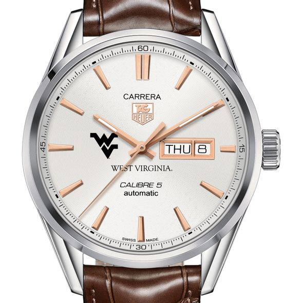 West Virginia University Men's TAG Heuer Day/Date Carrera with Silver Dial & Strap