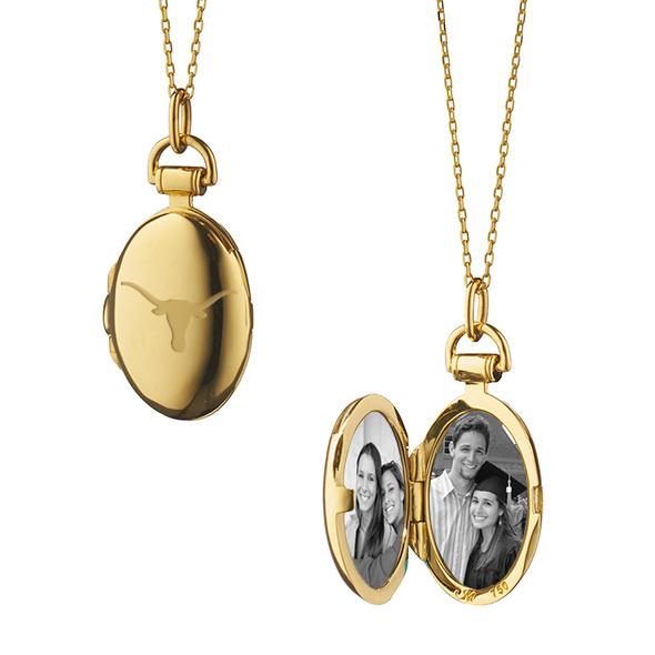University of Texas Monica Rich Kosann Petite Locket in Gold - Image 2