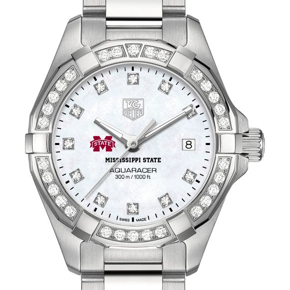 Mississippi State Women's TAG Heuer Steel Aquaracer with MOP Diamond Dial & Diamond Bezel