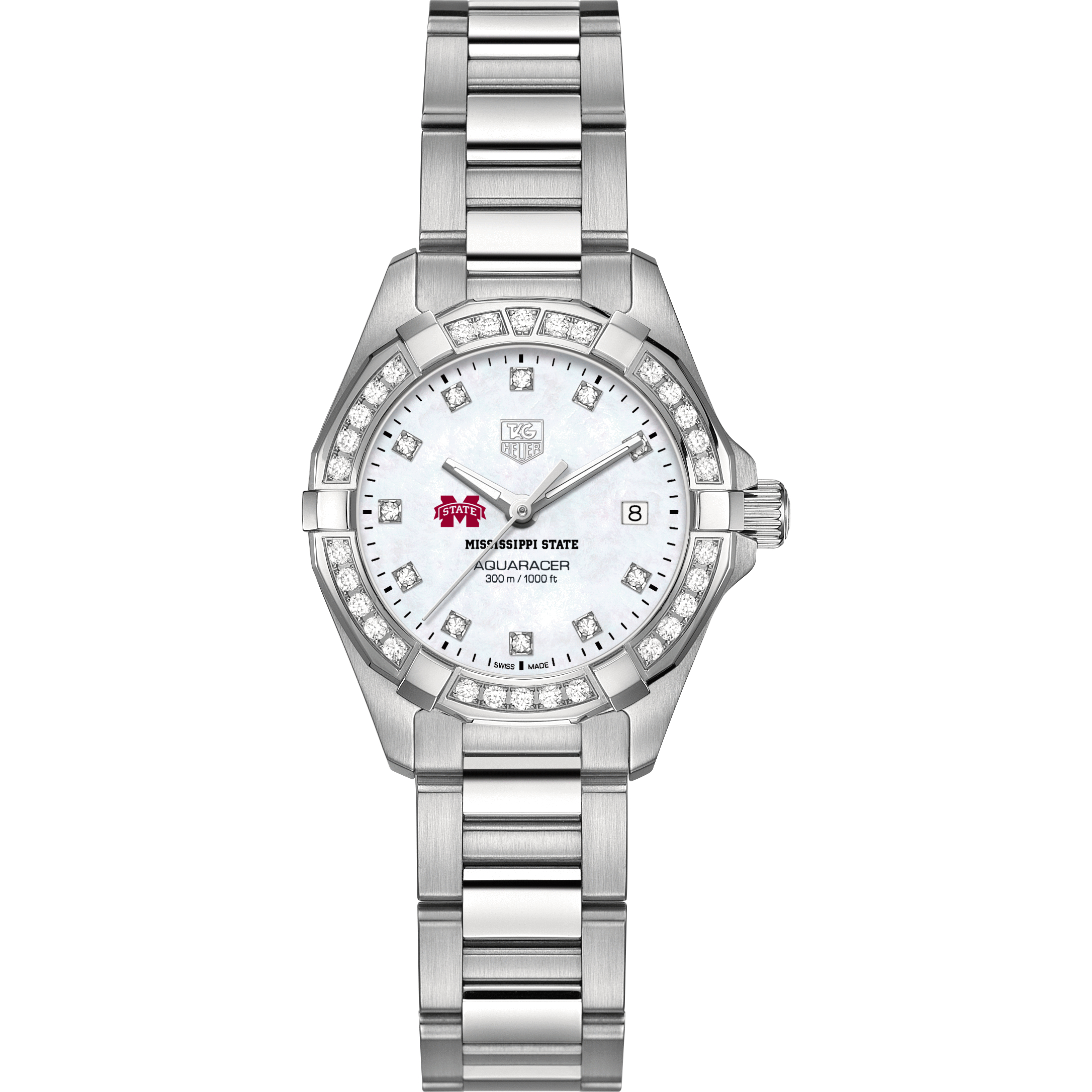 Mississippi State Women's TAG Heuer Steel Aquaracer with MOP Diamond Dial & Diamond Bezel - Image 2