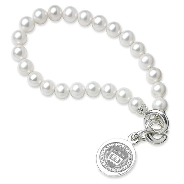 Boston College Pearl Bracelet with Sterling Silver Charm