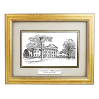 Framed Pen and Ink Ole Miss Print