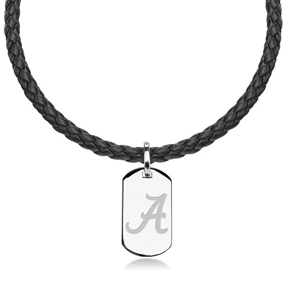 Alabama Leather Necklace with Sterling Dog Tag
