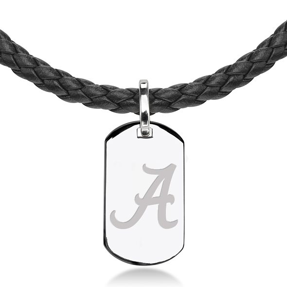 Alabama Leather Necklace with Sterling Dog Tag - Image 2