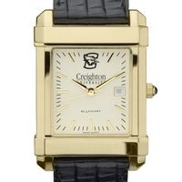 Creighton Men's Gold Quad with Leather Strap