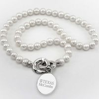 Texas McCombs Pearl Necklace with Sterling Silver Charm