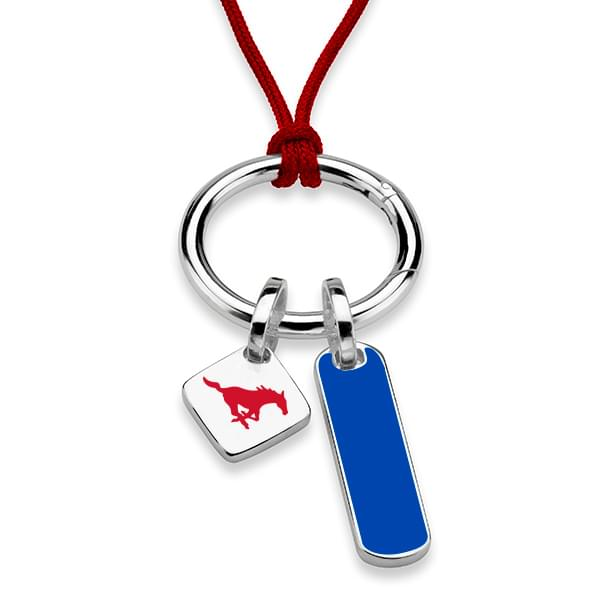 Southern Methodist University Silk Necklace with Enamel Charm & Sterling Silver Tag