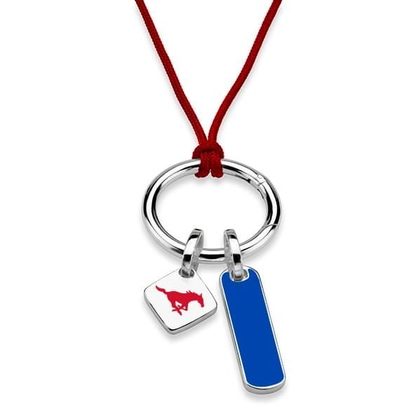 Southern Methodist University Silk Necklace with Enamel Charm & Sterling Silver Tag - Image 2