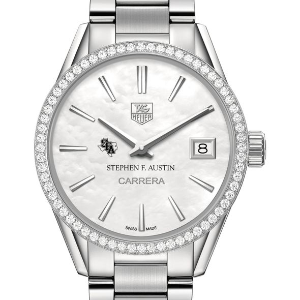 SFASU Women's TAG Heuer Steel Carrera with MOP Dial & Diamond Bezel