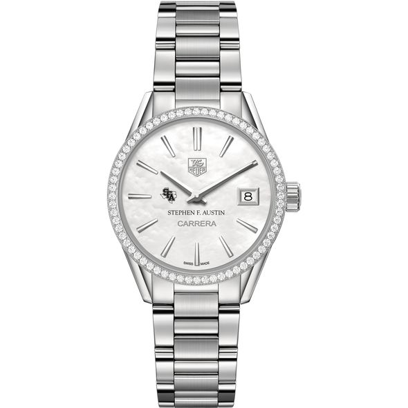 SFASU Women's TAG Heuer Steel Carrera with MOP Dial & Diamond Bezel - Image 2
