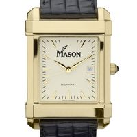 George Mason University Men's Gold Quad with Leather Strap