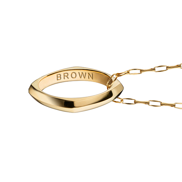 Brown University Monica Rich Kosann Poesy Ring Necklace in Gold - Image 3