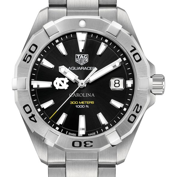 University of North Carolina Men's TAG Heuer Steel Aquaracer with Black Dial