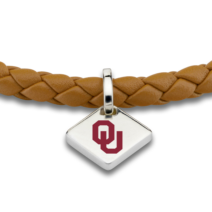 Oklahoma Leather Bracelet with Sterling Silver Tag - Saddle - Image 2