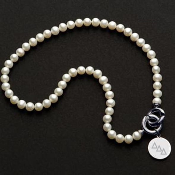 Delta Delta Delta Pearl Necklace with Sterling Silver Charm