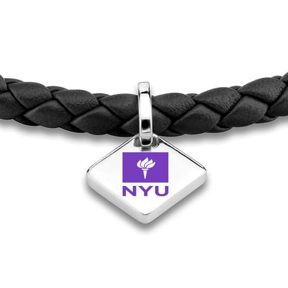 NYU Leather Bracelet with Sterling Silver Tag - Black - Image 2
