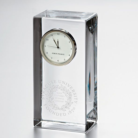 Syracuse University Tall Glass Desk Clock by Simon Pearce - Image 1