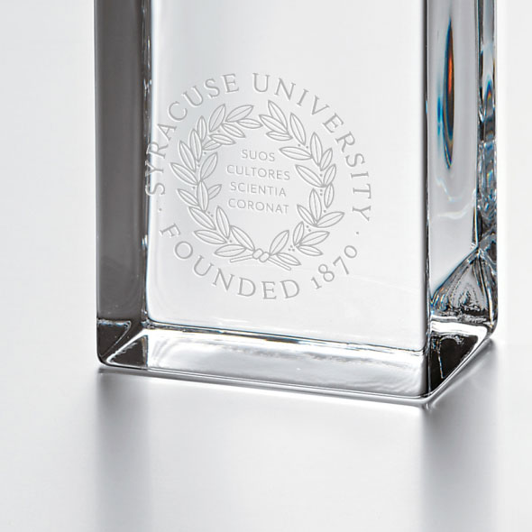 Syracuse University Tall Glass Desk Clock by Simon Pearce - Image 2