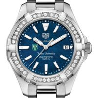 Tulane Women's TAG Heuer 35mm Steel Aquaracer with Blue Dial