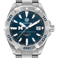 University of Michigan Men's TAG Heuer Steel Aquaracer with Blue Dial